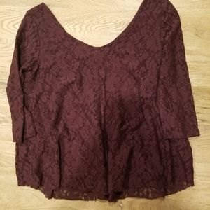 American Eagle Lace Long Sleeve Top